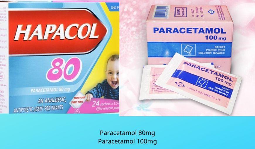 Paracetamol 80mg, 100mg dạng sủi điều trị giảm đau, hạ sốt ở trẻ em