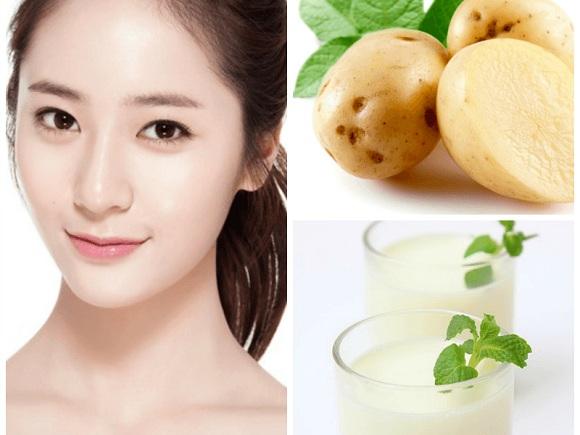 Cách làm trắng da từ khoai tây và sữa tươi